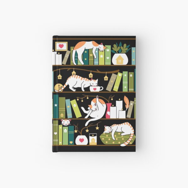 Library cats - whimsical cats on the book shelves  Hardcover Journal