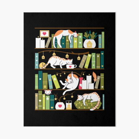Library cats - whimsical cats on the book shelves  Art Board Print
