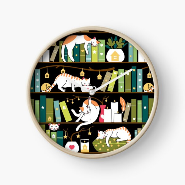 Library cats - whimsical cats on the book shelves  Clock