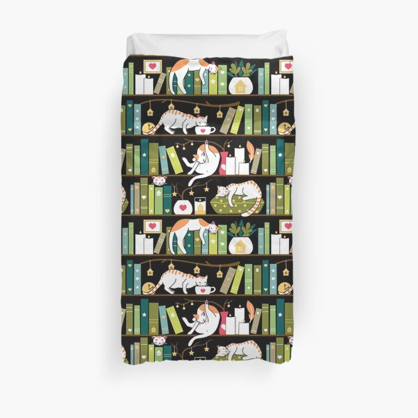 Library cats - whimsical cats on the book shelves  Duvet Cover