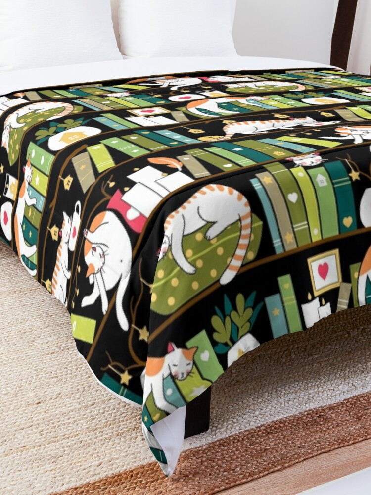 Alternate view of Library cats - whimsical cats on the book shelves  Comforter