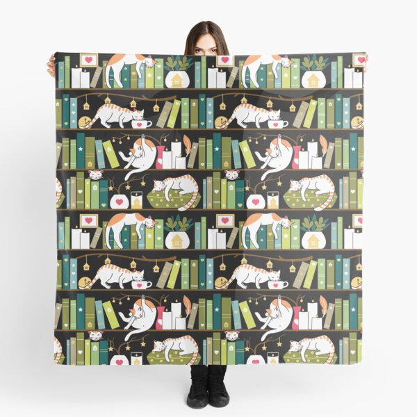 Library cats - whimsical cats on the book shelves  Scarf