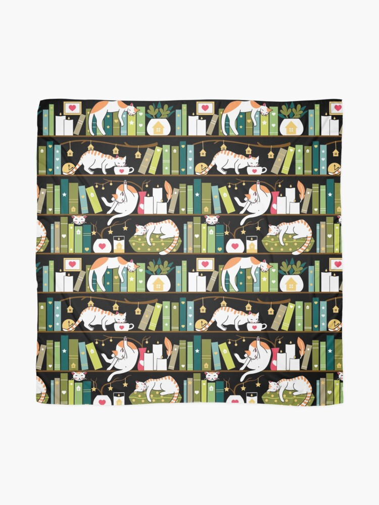 Alternate view of Library cats - whimsical cats on the book shelves  Scarf