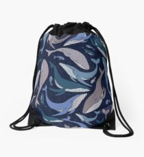 School of whales Drawstring Bag