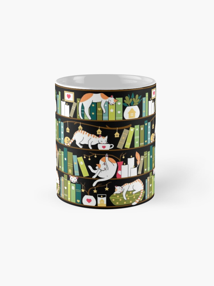 Alternate view of Library cats - whimsical cats on the book shelves  Mug