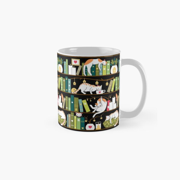 Library cats - whimsical cats on the book shelves  Classic Mug