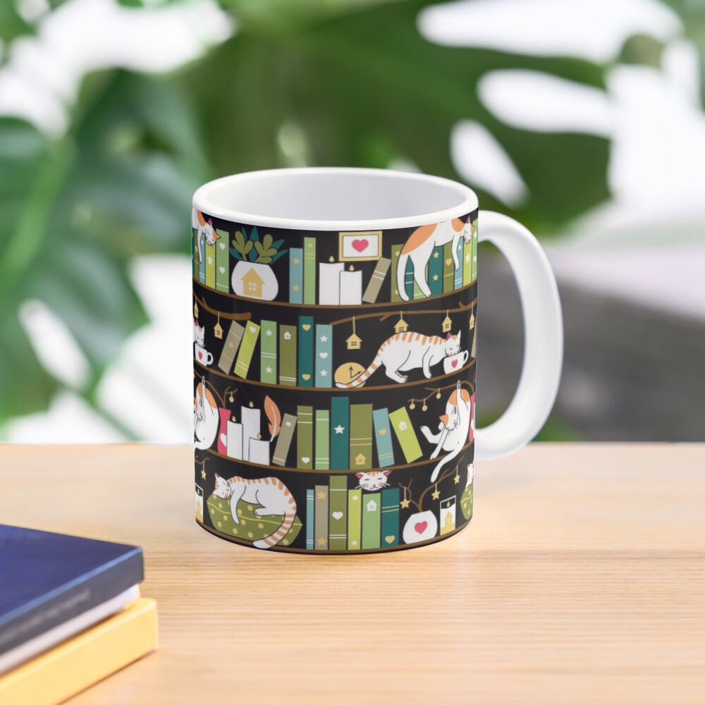 Library cats - whimsical cats on the book shelves  Mug