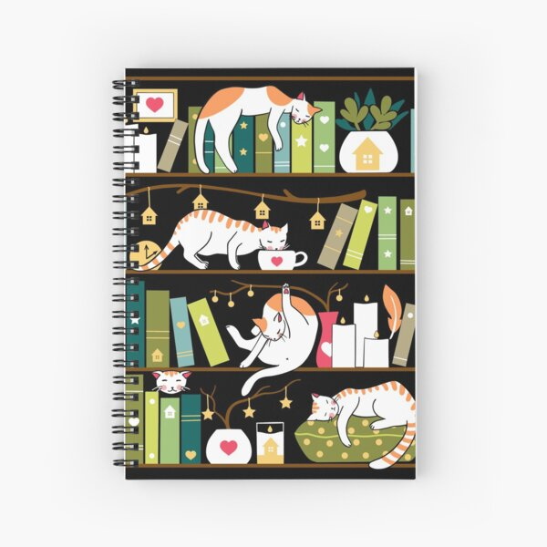 Library cats - whimsical cats on the book shelves  Spiral Notebook