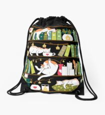 Library cats Drawstring Bag