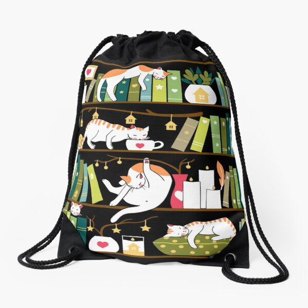 Library cats - whimsical cats on the book shelves  Drawstring Bag