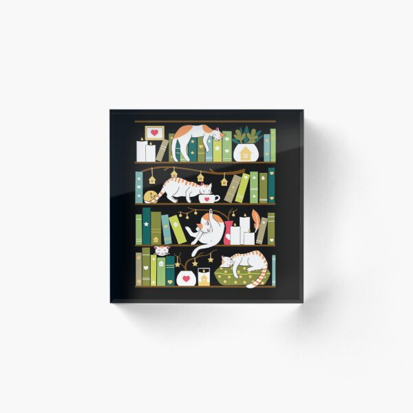 Library cats - whimsical cats on the book shelves  Acrylic Block