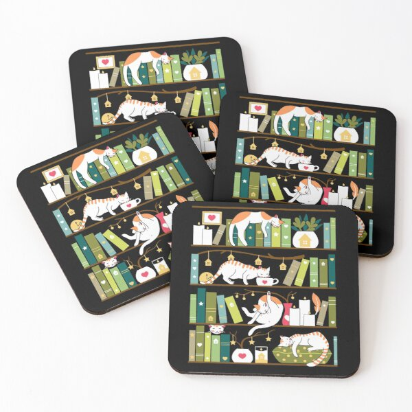 Library cats - whimsical cats on the book shelves  Coasters (Set of 4)