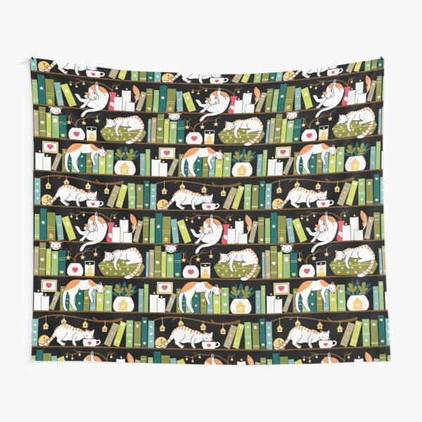 Library cats - whimsical cats on the book shelves  Tapestry