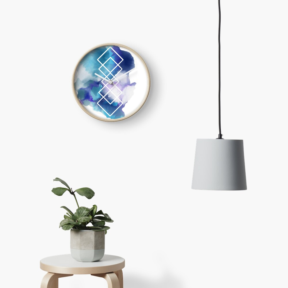 Geometric Watercolor  Clock