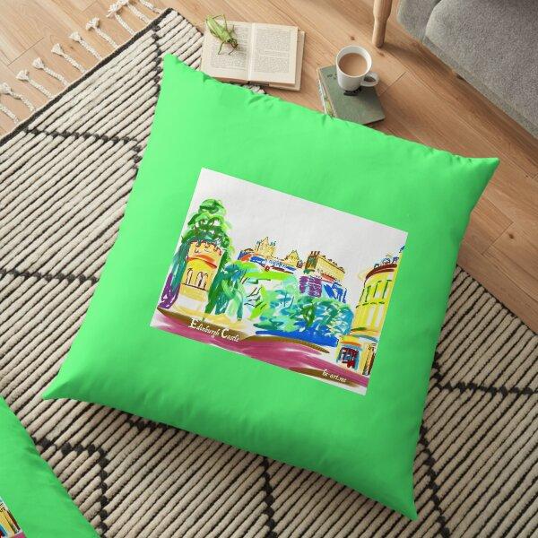 Sunny Edinburgh Castle  Floor Pillow
