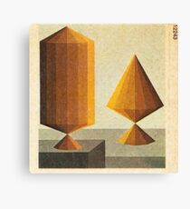 surrealist regular solids on platforms Canvas Print