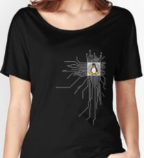 pc board penguin pc nerd computer system core CPU pc coder geek computer science Women's Relaxed Fit T-Shirt