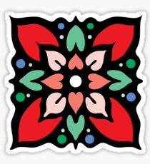 Floral pattern. Stained glass red Sticker