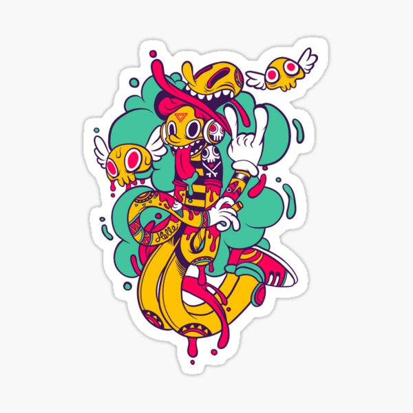 Artistic funny rubber man T-Shirt Sticker