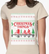 Stranger Things inspired Christmas Sweater Women's Fitted T-Shirt