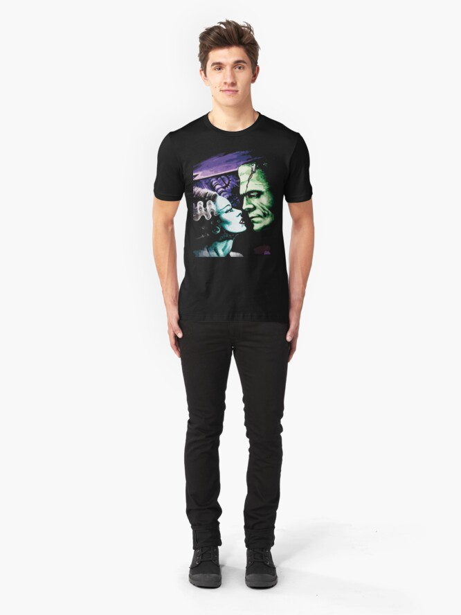 Alternate view of Bride & Frankie Monsters in Love Slim Fit T-Shirt