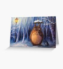 Totoro in Snow Greeting Card
