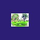 The Meadows cherry tree walk and Arthurs Seat distant by Helen Imogen Field