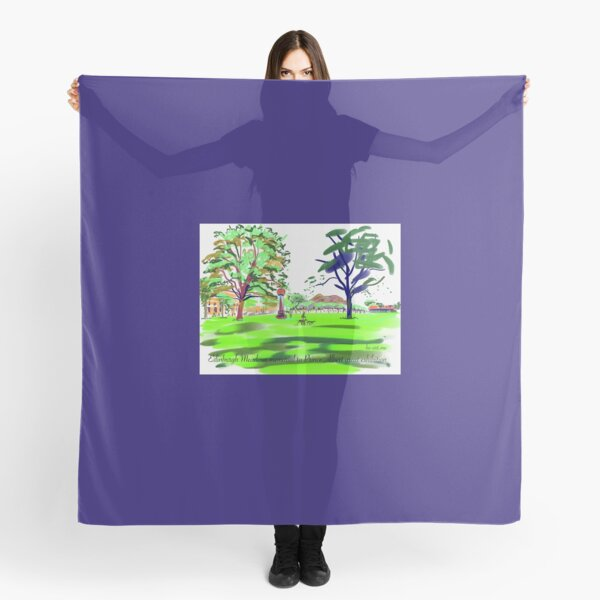 The Meadows cherry tree walk and Arthurs Seat distant Scarf