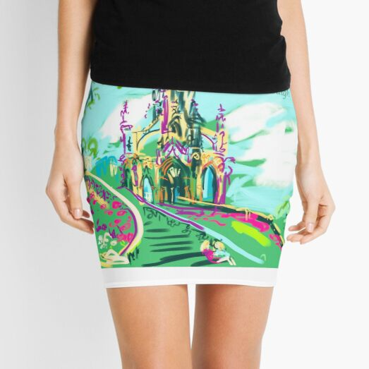 The Monument to Sir Walter Scott from Princes Gardens on a festival day Mini Skirt