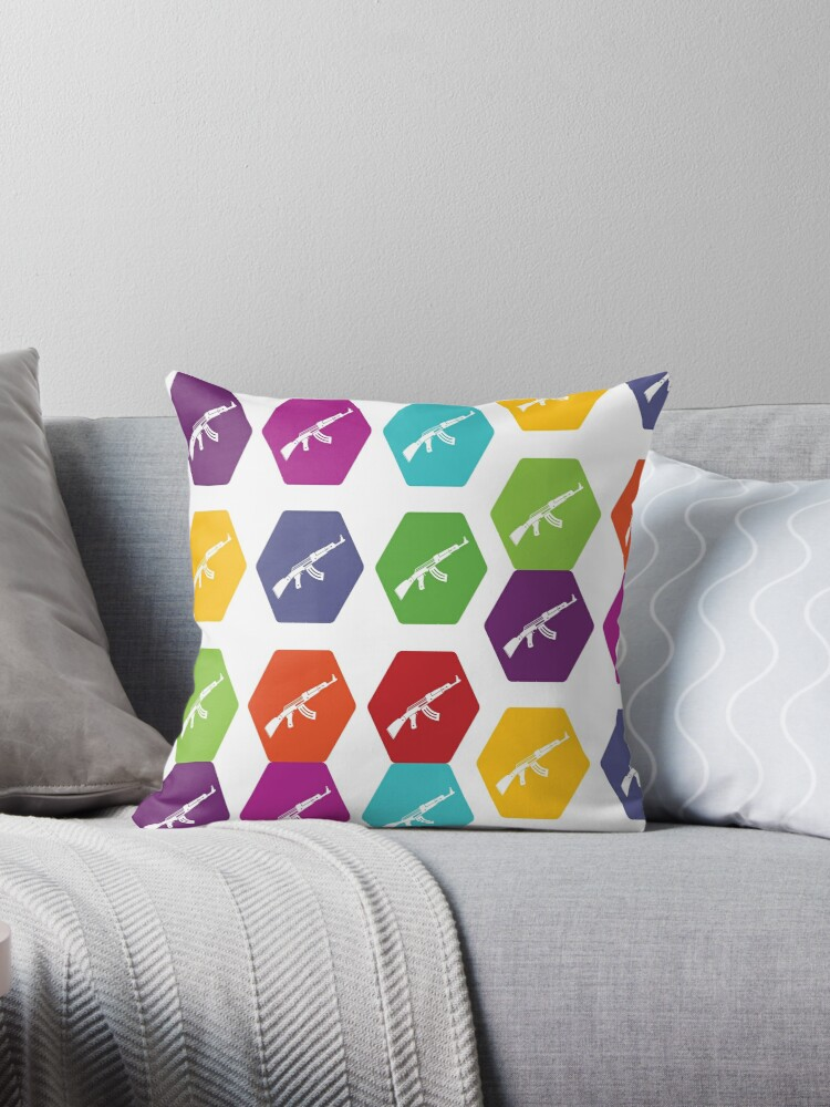 retro ak 47 collage throw pillows by nolamaddog redbubble