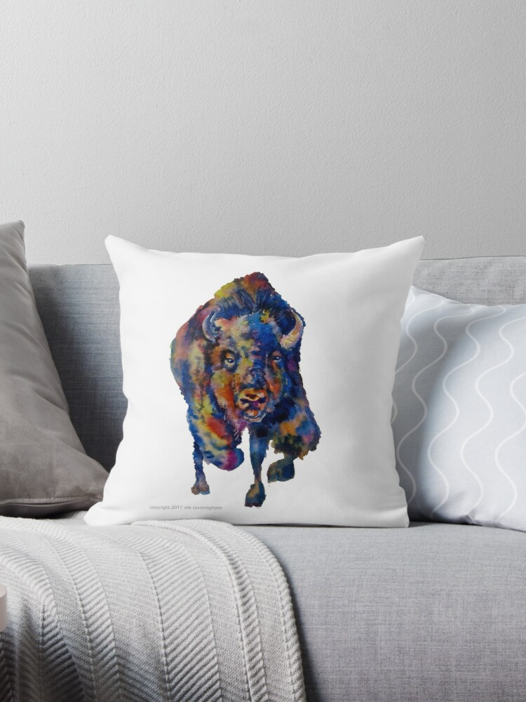 Charging Buffalo Watercolor Print by Marybeth Cunningham