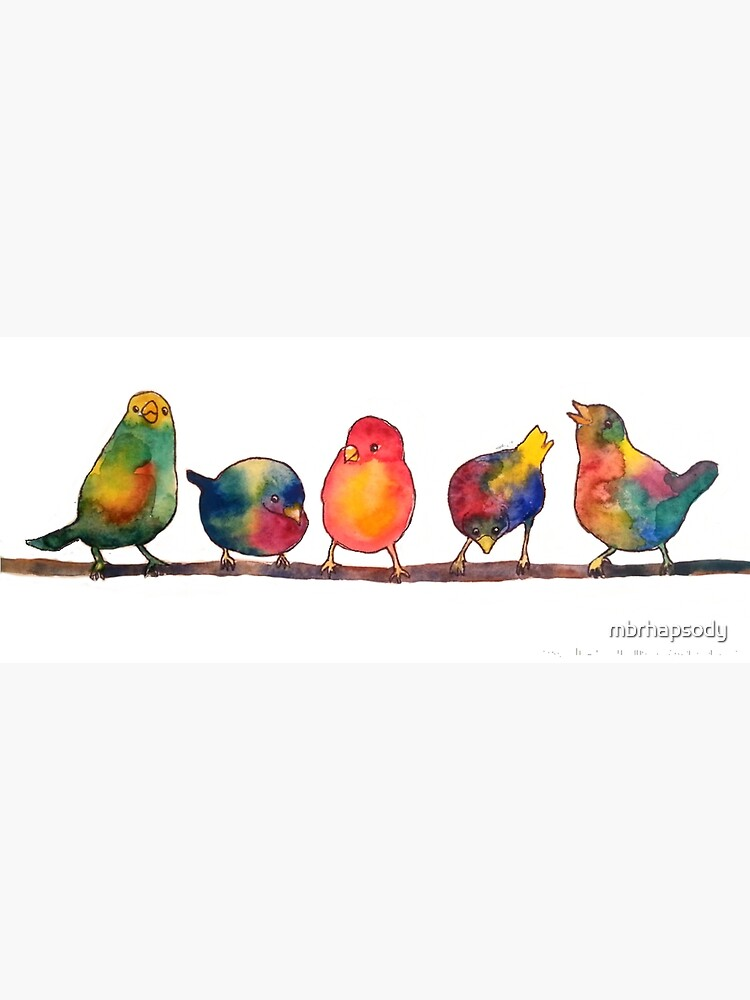 Sweet Watercolor Song Birds by mbrhapsody