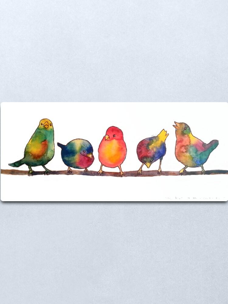 Alternate view of Sweet Watercolor Song Birds Metal Print