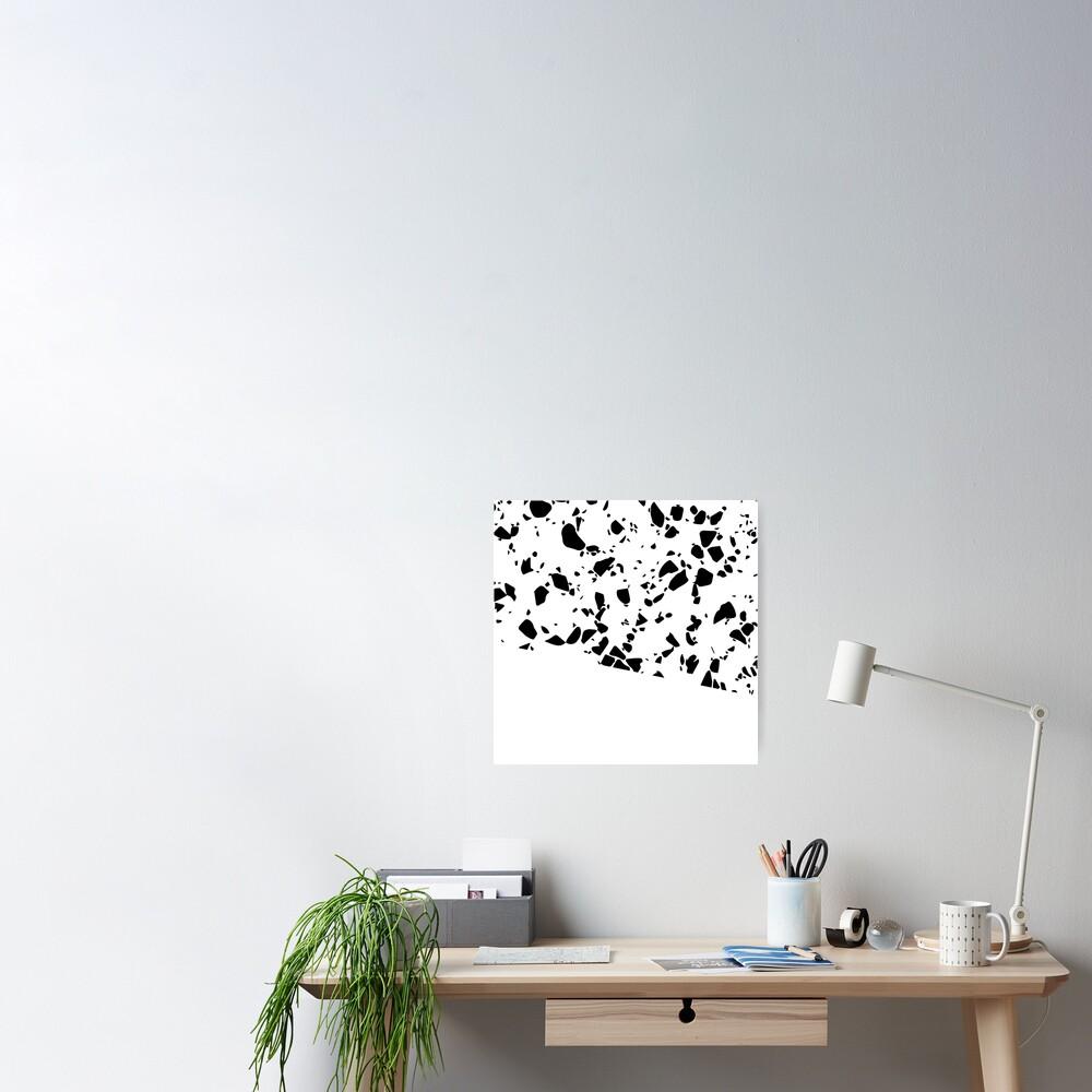 Terrazzo Texture Black and White #8 Poster