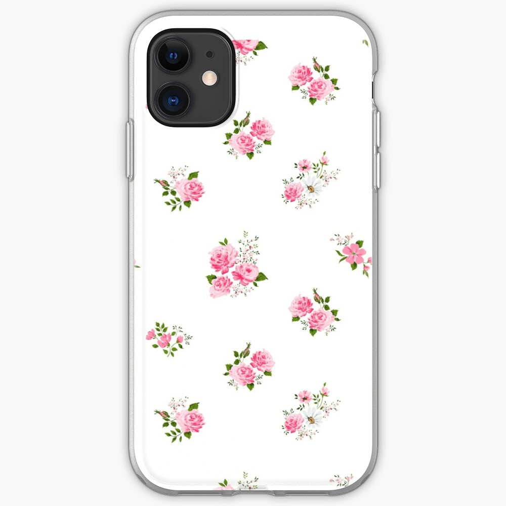 Cute Vintage Rose Flower Pattern On White Background Iphone Case