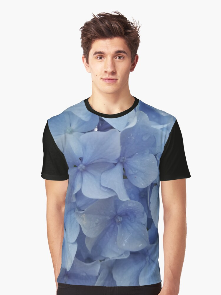Blue Hydrangea Graphic T-Shirt Front