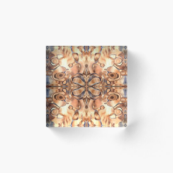 HOLOGRAPHIC HOPE original acrylic painting, Trippy Pattern, Psychedelic Pattern, Geometric, Fractal, Art Clothes Acrylic Block