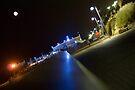 Tel Aviv sea promenade at night by Moshe Cohen