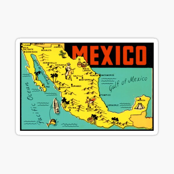 Mexico Graphic Map Vintage Travel Decal Sticker