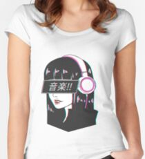 Music! - Sad Japanese Aesthetic Women's Fitted Scoop T-Shirt