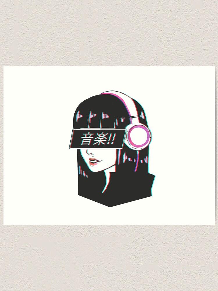 Music Sad Japanese Aesthetic Art Print By Drixxart Redbubble