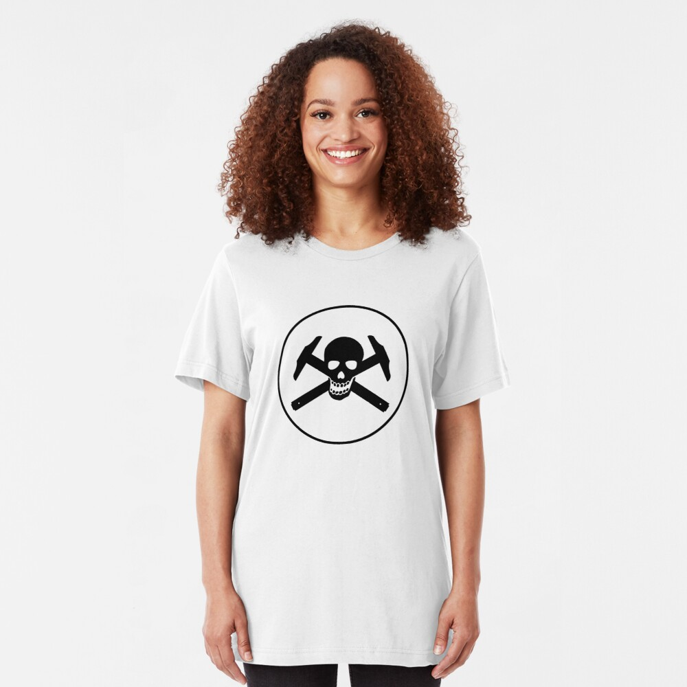 Architectural Jolly Rogers w/ circle - Black Image Slim Fit T-Shirt