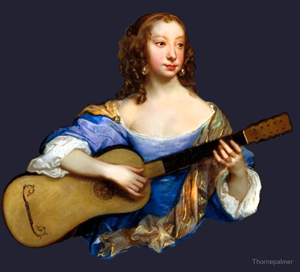 Baroque Woman Playing Guitar - around 1650 by Thornepalmer