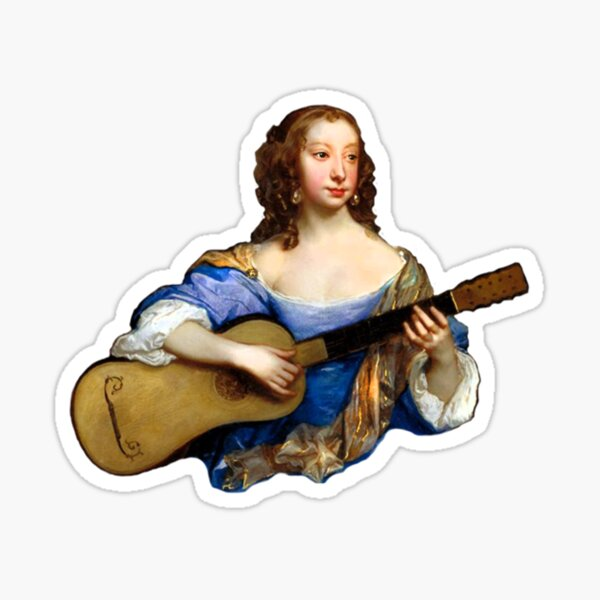 Baroque Woman Playing Guitar - around 1650 Sticker