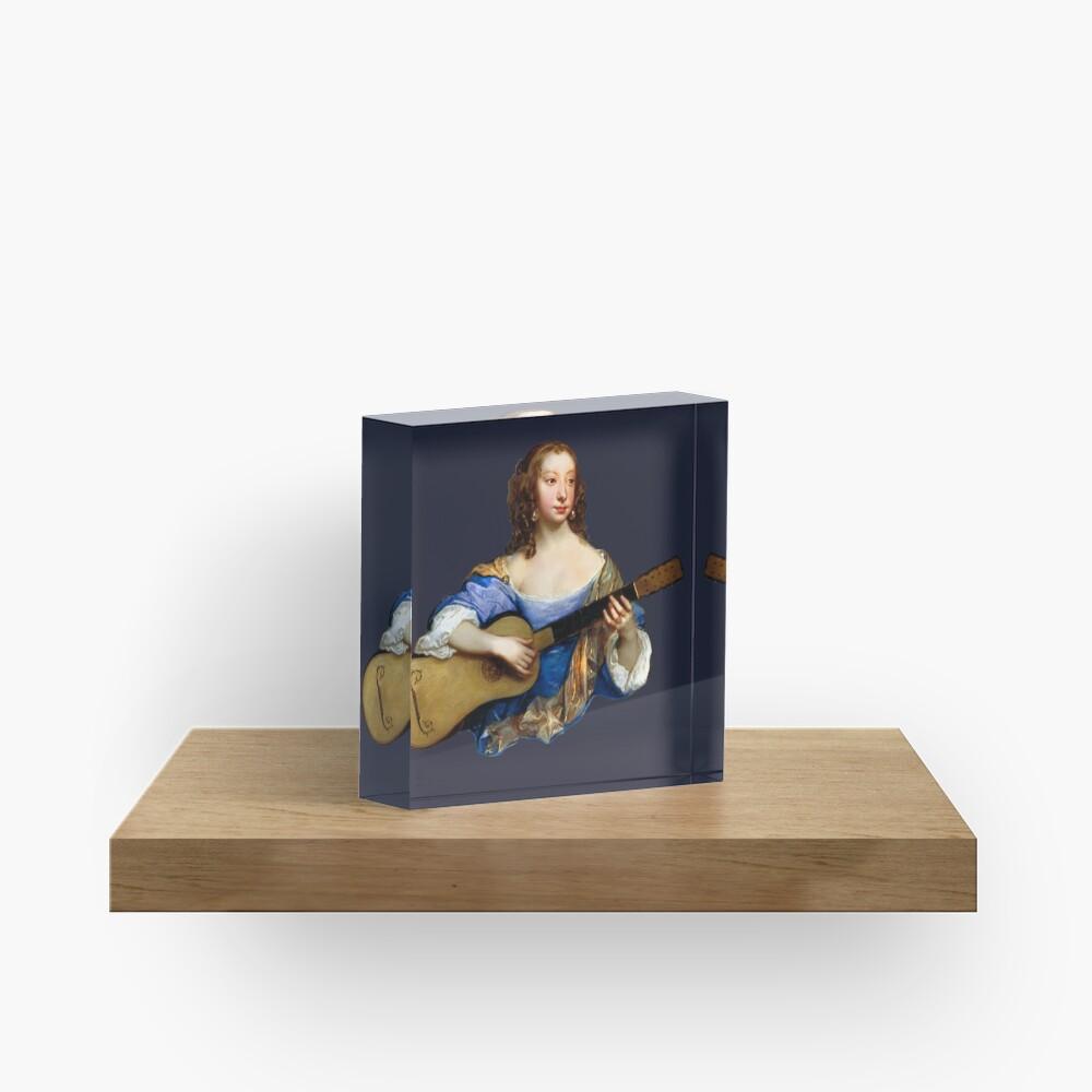 Baroque Woman Playing Guitar - around 1650 Acrylic Block