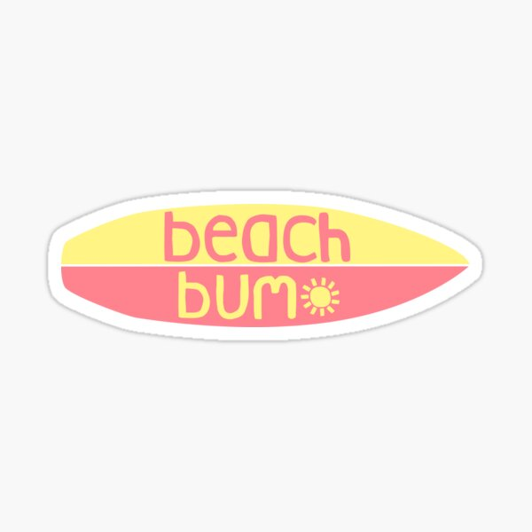 Beach Bum (pink/yellow) Sticker