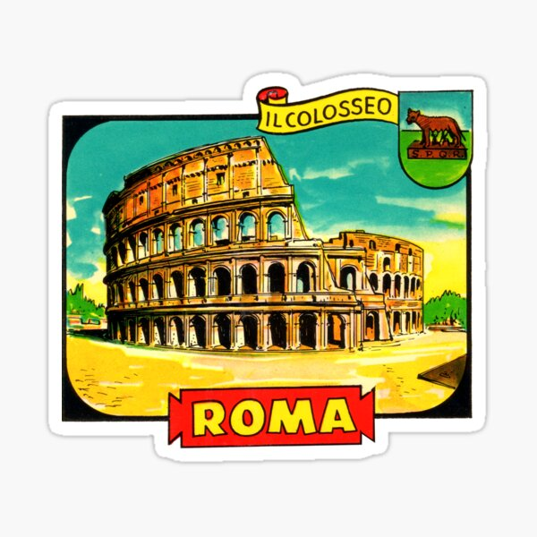 The Colosseum Rome Italy Vintage Travel Decal  Sticker