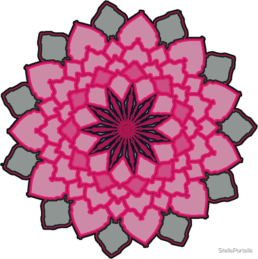 Pink And Black Lotus Flower By Stellaportalis Redbubble