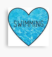 Swimming Ocean Heart Canvas Print