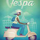 Retro Vespa Scooter by kevincreative